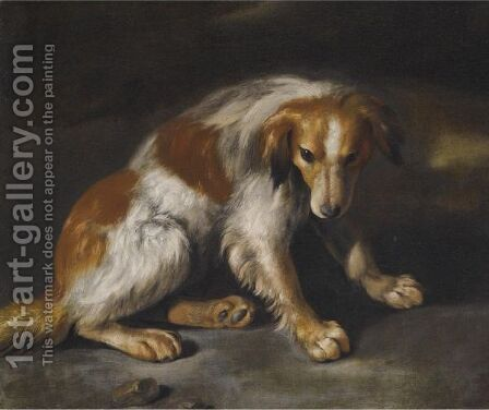 A Spaniel Seated In A Landscape by (after) Arcangelo Resani - Reproduction Oil Painting
