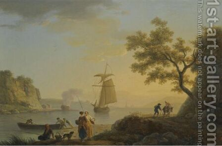 An Extensive Coastal Landscape With Fishermen Unloading Their Boats And Figures Conversing In The Foreground by Claude-joseph Vernet - Reproduction Oil Painting