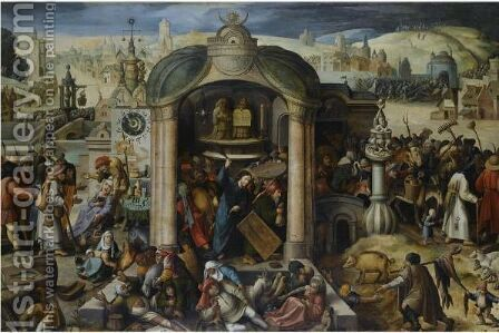 Christ Expels The Money-Lenders From The Temple by (after) Hieronymus Bosch - Reproduction Oil Painting