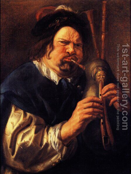 Self-Portrait As A Bagpipe Player by Jacob Jordaens - Reproduction Oil Painting