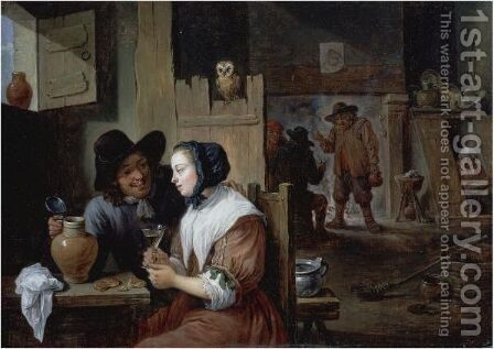 A Young Couple In An Inn by David The Younger Teniers - Reproduction Oil Painting