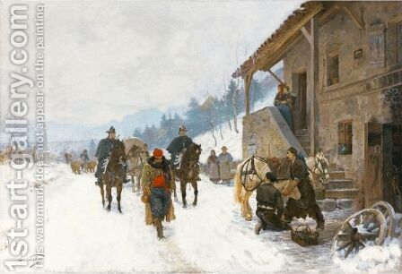 A Cheval Landscape In Winter With Jugglers, Dancing Bears And Gendarmes On Horseback by Edouard Castres - Reproduction Oil Painting