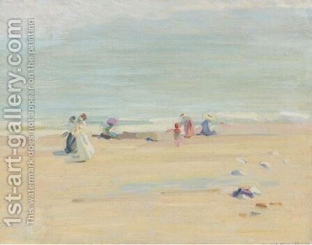 An English Beach by Helen Galloway Mcnicoll - Reproduction Oil Painting