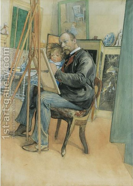 Mirror-Image With Brita by Carl Larsson - Reproduction Oil Painting