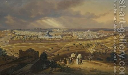 View Of Jerusalem From The Mount Of Olives by Hubert Sattler - Reproduction Oil Painting