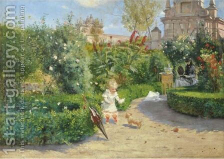 The Murillo Gardens, Seville by Hugo Birger - Reproduction Oil Painting