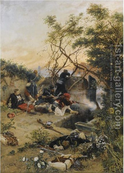 Essuyant Le Feu by Alphonse Marie de Neuville - Reproduction Oil Painting