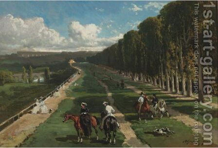 L'Allee Cavaliere Sur Las Terrasse De Saint-Germain by Alfred Dedreux - Reproduction Oil Painting