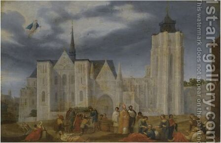 A Bishop Blessing The Sick Outside His Church by (after) Herman Van Swanevelt - Reproduction Oil Painting