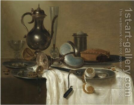 A Still Life With A Pewter Wine-Pot, An Overturned Nautilus Cup, A Flute-Glass, A Pewter Salt, A Pie On A Dish by (after) Willem Claesz. Heda - Reproduction Oil Painting