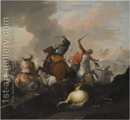 Battle Scenes Between Christians And Ottomans by (after) Marzio Masturzo - Reproduction Oil Painting