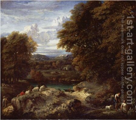 A Wooded River Landscape With A Shepherd Resting Near His Flock by Cornelis Huysmans - Reproduction Oil Painting
