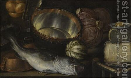 A Still Life With A Fish, Onions, Cabbage, Cheese And Copper Pots by Cornelis Jacobsz Delff - Reproduction Oil Painting