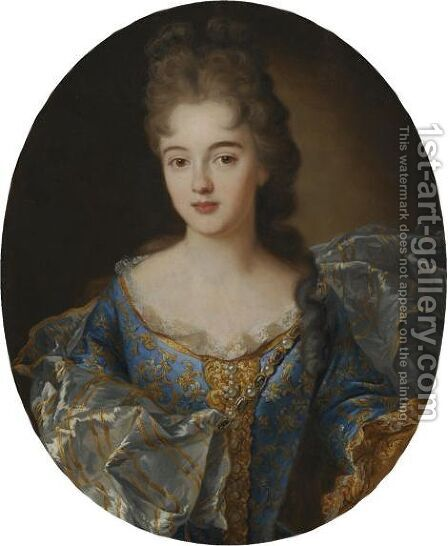 Portrait Of A Lady, Half Length, In A Blue Embroided Dress With An Ornate Scarf by (after) Nicolas De Largillierre - Reproduction Oil Painting