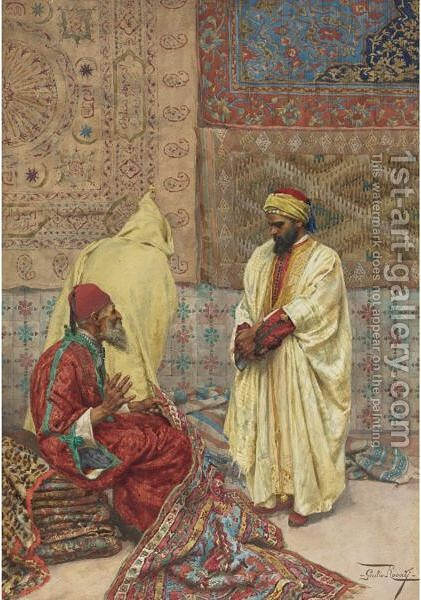 The Carpet Bazaar by Giulio Rosati - Reproduction Oil Painting