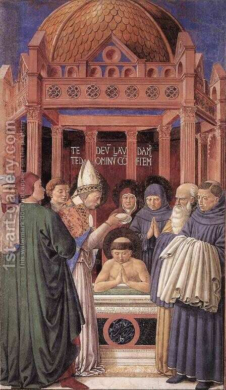 Scenes From The Life Of St Francis (Scene 11 South Wall) by Benozzo di Lese di Sandro Gozzoli - Reproduction Oil Painting