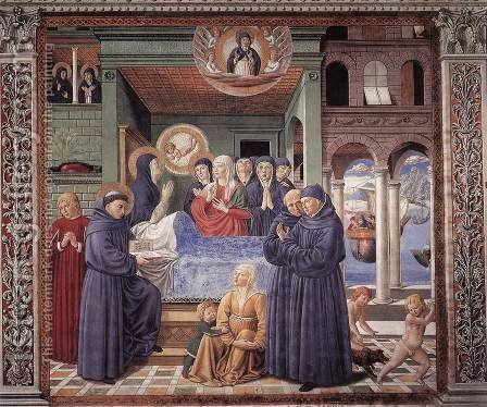 Death Of St Monica (scene 13 South Wall) by Benozzo di Lese di Sandro Gozzoli - Reproduction Oil Painting