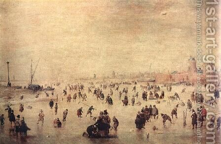 Skaters by Hendrick Avercamp - Reproduction Oil Painting
