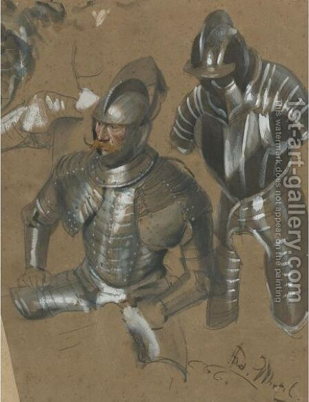 Study Of A Knight And Suit Of Armor by Adolph von Menzel - Reproduction Oil Painting