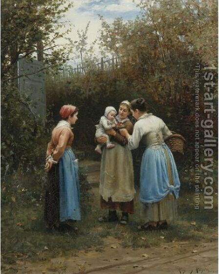 Morning Greeting by Daniel Ridgway Knight - Reproduction Oil Painting