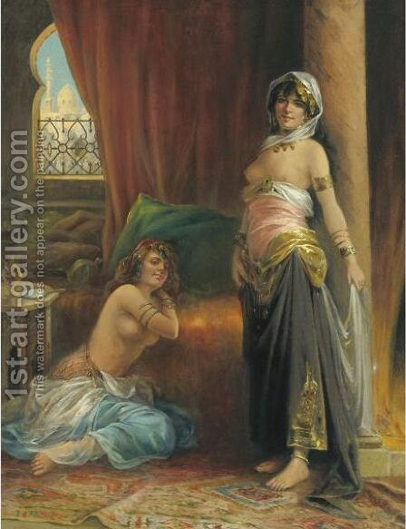 Harem Beauty by Adrien Henri Tanoux - Reproduction Oil Painting