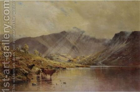 Cader Idris, Passing Showers by Alfred de Breanski - Reproduction Oil Painting