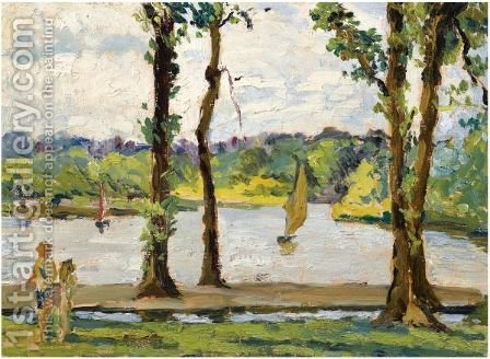 Sailing Boats On A Lake by Alexander Jamieson - Reproduction Oil Painting