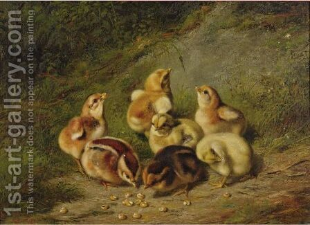 Baby Chicks by Arthur Fitzwilliam Tait - Reproduction Oil Painting