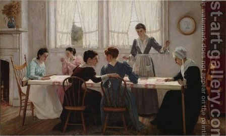 Quilting Party by Edgar Melville Ward - Reproduction Oil Painting