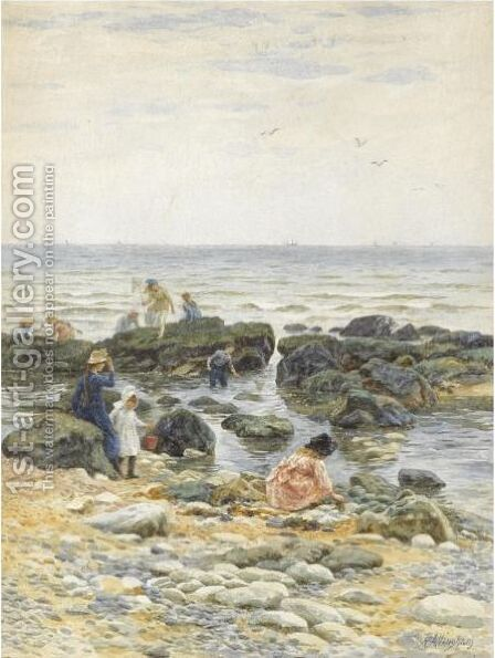 Crabbing At Eastbourne by Helen Mary Elizabeth Allingham, R.W.S. - Reproduction Oil Painting