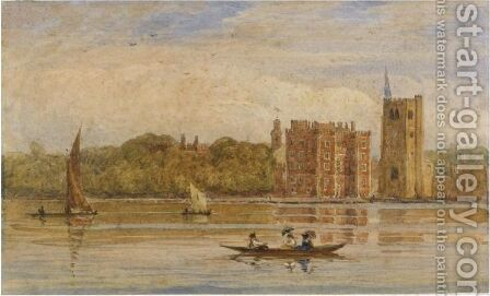 Boating Before Lambeth Palace, London by David Cox - Reproduction Oil Painting