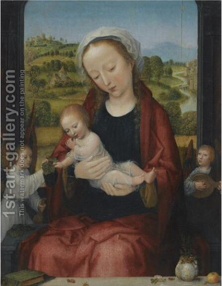 The Virgin And Child Enthroned, Attended By Angels Before An Open Window, An Extensive Fluvial Landscape Beyond by Adriaen Isenbrandt (Ysenbrandt) - Reproduction Oil Painting