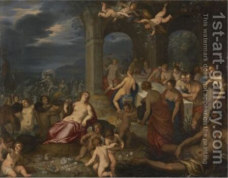 The Feast Of The Gods - The Marriage Of Peleus And Thetis by (after) Hans I Rottenhammer - Reproduction Oil Painting