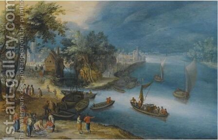 A Fluvial Landscape With Fishermen Unloading Their Catch by (after) Jan The Elder Brueghel - Reproduction Oil Painting