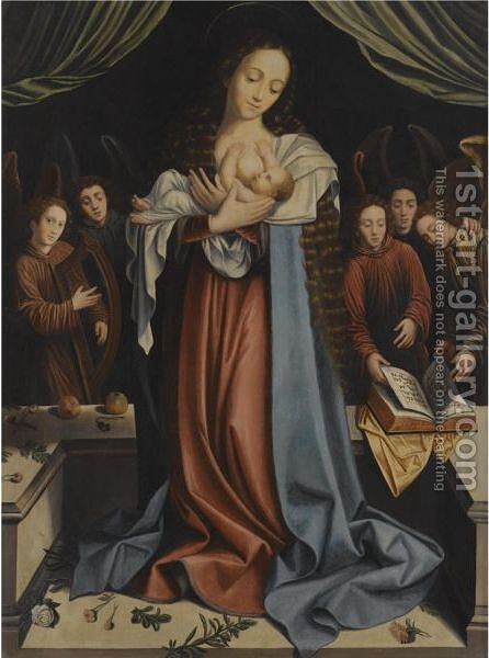 The Virgin And Child With Attendant Angels by (after) Bernard Van Orley - Reproduction Oil Painting