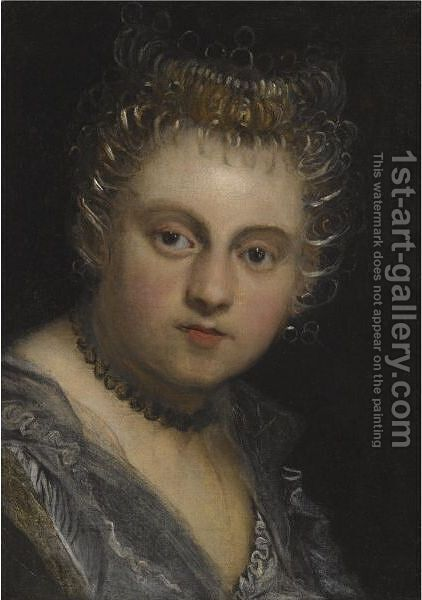 Portrait Of A Young Lady, Head And Shoulders by Jacopo d'Antonio Negretti (see Palma Giovane) - Reproduction Oil Painting