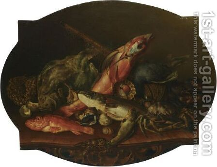A Still Life With A Turbot, A Flying Fish, A Lobster, A Spider Crab And Other Sea Life, Arranged Over A Wooden Table by (after) Giuseppe Recco - Reproduction Oil Painting