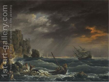A Mediterranean Coastal Scene With A Shipwreck by Claude-joseph Vernet - Reproduction Oil Painting