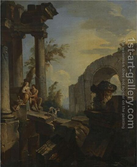 An Architectural Capriccio With A Couple Seated And A Dog Beneath Ruined Columns by (after) Giovanni Paolo Panini - Reproduction Oil Painting