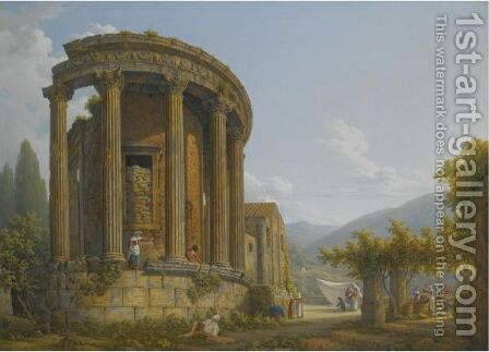 Tivoli, A View Of The Temple Of The Sibyl by Abraham Louis Rudolph Ducros - Reproduction Oil Painting