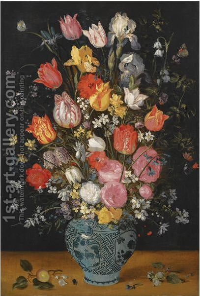 Still Life With Tulips, Roses, Lilies, Irises, Poppies, Hyacinths And Other Flowers In A Blue And White Delft Porcelain Vase by Jan, the Younger Brueghel - Reproduction Oil Painting