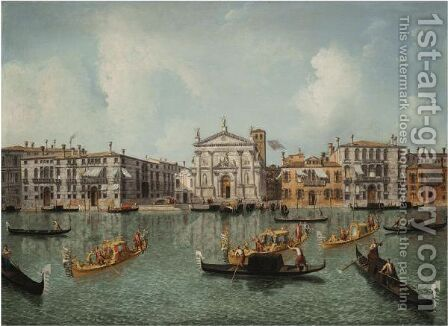 Venice, The Grand Canal With A View Of The Church Of San Stae by Jacob More - Reproduction Oil Painting