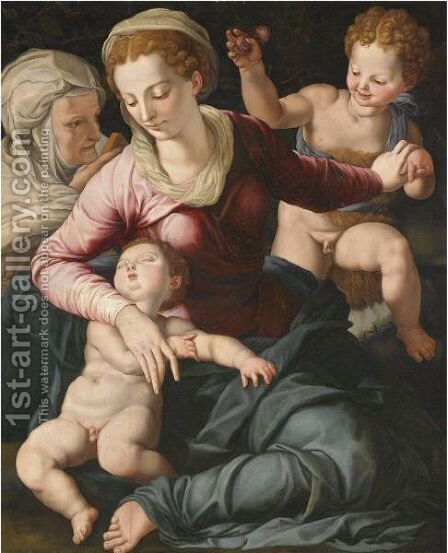 Madonna And Child With St. Anne And Infant St. John The Baptist by (after) Agnolo Di Cosimo - Reproduction Oil Painting