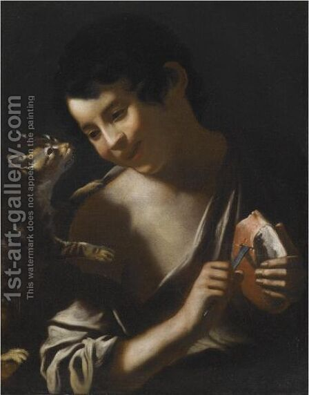 A Boy Eating A Loaf Of Bread With A Cat by (after) Tommaso Salini (Mao) - Reproduction Oil Painting