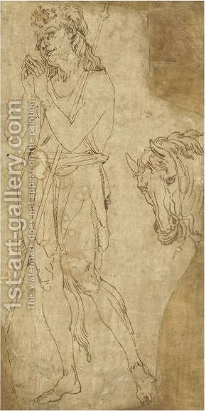Saint John The Baptist And A Separate Study Of The Head Of A Horse by (after) Antonio Pollaiolo - Reproduction Oil Painting