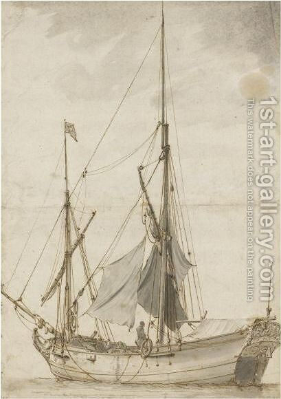 A Small Masted Boat by Claude-joseph Vernet - Reproduction Oil Painting