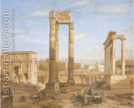 View Of The Roman Forum by Hermann David Salomon Corrodi - Reproduction Oil Painting