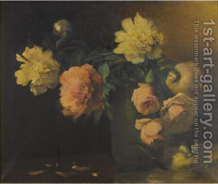 Peonies And Roses In A Green Vase by Charles Ethan Porter - Reproduction Oil Painting