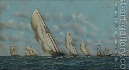 The Dauntless, Wanderer, And Idler by Antonio Jacobsen - Reproduction Oil Painting