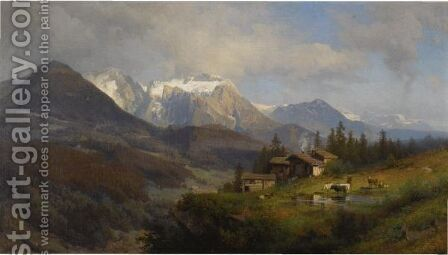 An Alpine Village by Herman Herzog - Reproduction Oil Painting